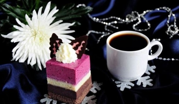 Chocolate Mousse and Black Currant Three Worlds Cake